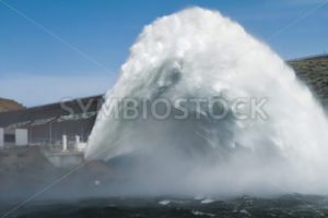 Water jet being released from the Lucky Peak Dam - Stock Images 4 You