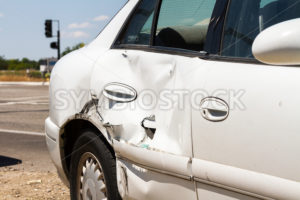 car wrecked on the side of the road - Stock Images 4 You