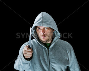 Crazy man holding a knife. - Stock Images 4 You