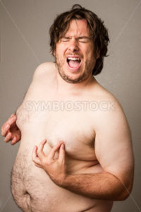 Nipple grabbing fat man - Stock Images 4 You